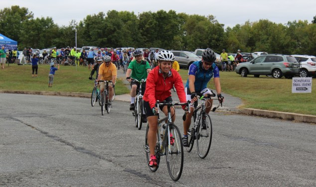 A group of bicyclists ride from Pottstown to Union Township as part of the first Ride for the River which was held in conjunction with the Sly Fox Can Jam Festival.