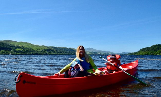Canoeing with kids on Bala Lake