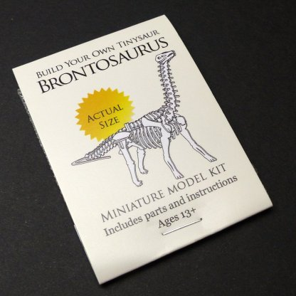 Brontosaurus tiny skeleton model packaging by Tinysaur