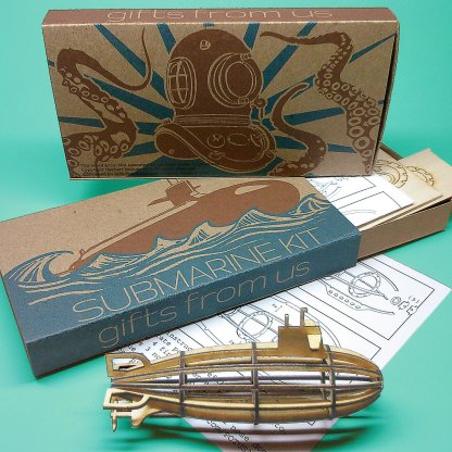 Medium-sized Submarine Wood Model Kit with laser-cut parts, instructions, and retro packaging by POTUS31.com