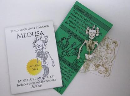 Medusa miniature skeleton model kit with laser-cut bones and instructions by Tinysaur.us