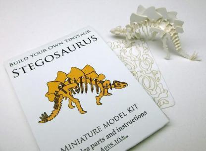 Stegosaurus miniature skeleton model with laser-cut bones and instructions by Tinysaur.us