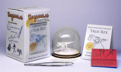 True Rex All-in-one miniature skeleton model kit with laser-cut bones, glass display dome, instructions, tweezers, glue, a magnifier, and packaging by Tinysaur.us