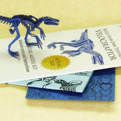 Velociraptor with laser-cut bones and instructions