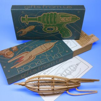 Medium-sized Rocket Wood Model Kit with laser-cut parts, instructions, and retro packaging by POTUS31.com
