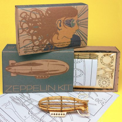 Miniature-sized Zeppelin Wood Model Kit with laser-cut parts, instructions, and retro packaging by POTUS31.com