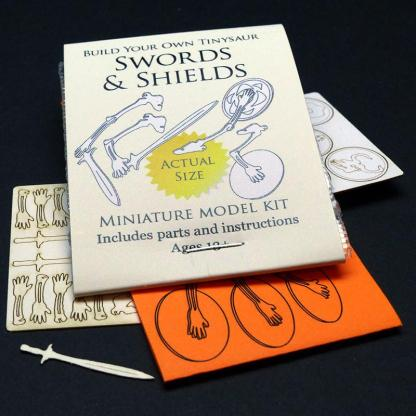 Swords & Shields add-on laser cut bones and implements for Tiny Human and other humanoid kits such as the Mermaid, Medusa, Minotaur, Cyclops, and Tiny Human by Tinysaur.us