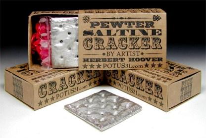 Pewter Saltine Cracker Sculpture in gift box