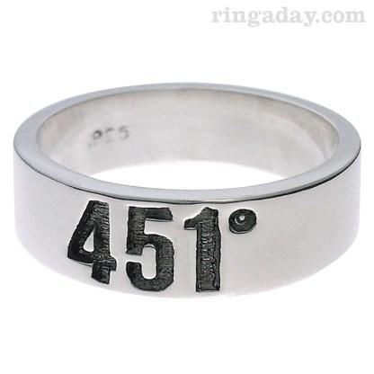 fahrenheit 451 Ray Bradbury homage silver ring