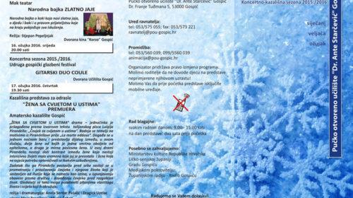 Programska knjižica za siječanj, veljaču i ožujak 2016.