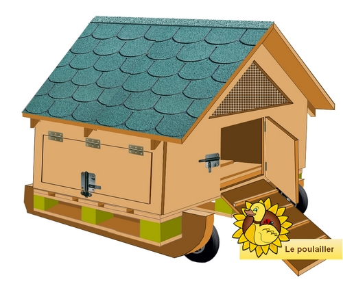 modèle de petit poulailler mobile fait avec une palette