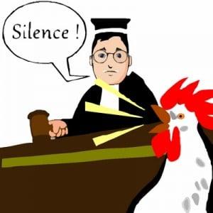 coq devant le juge au tribunal - dessin