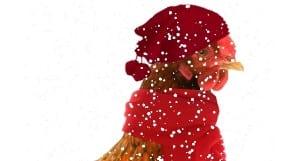 poule emmitouflée sous la neige