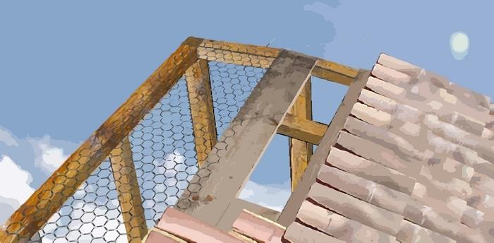 Montage de la toiture du pigeonnier