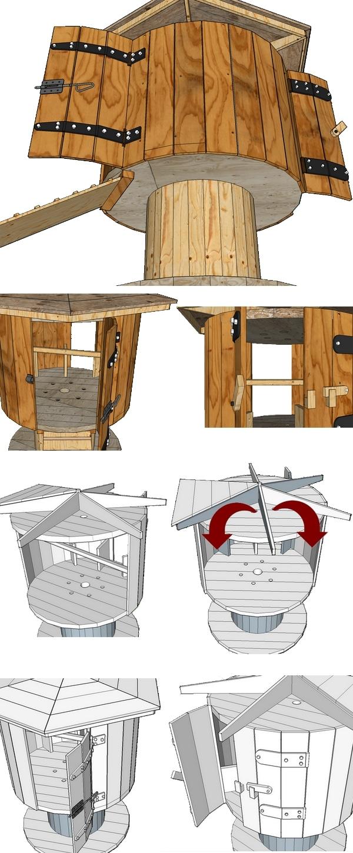 plan de montage d'un poulailler fait avec la récup d'un touret de chantier