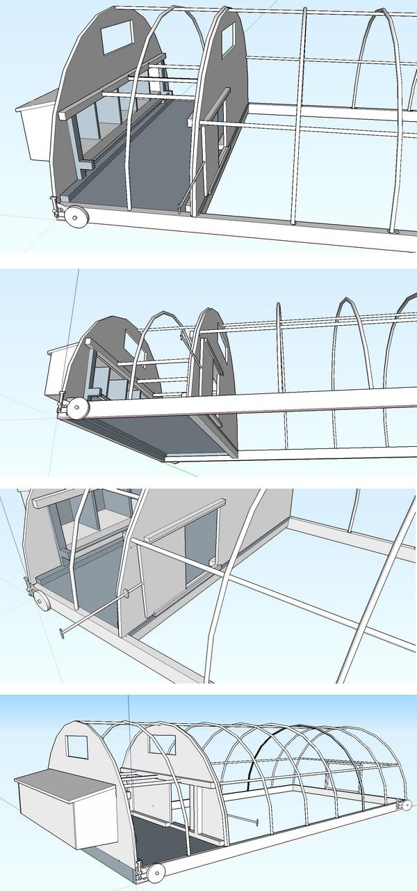plan en 3D d'un poulailler tunnel