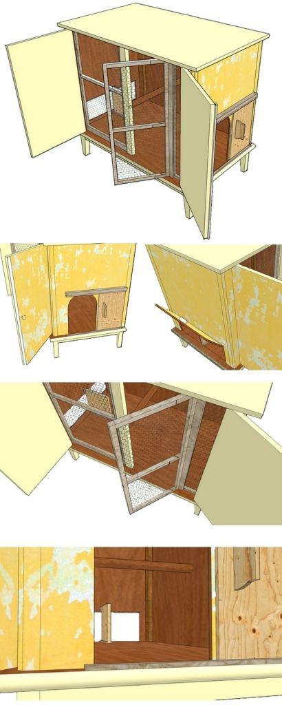 poulailler fait avec un vieux meuble récupéré dans une brocante