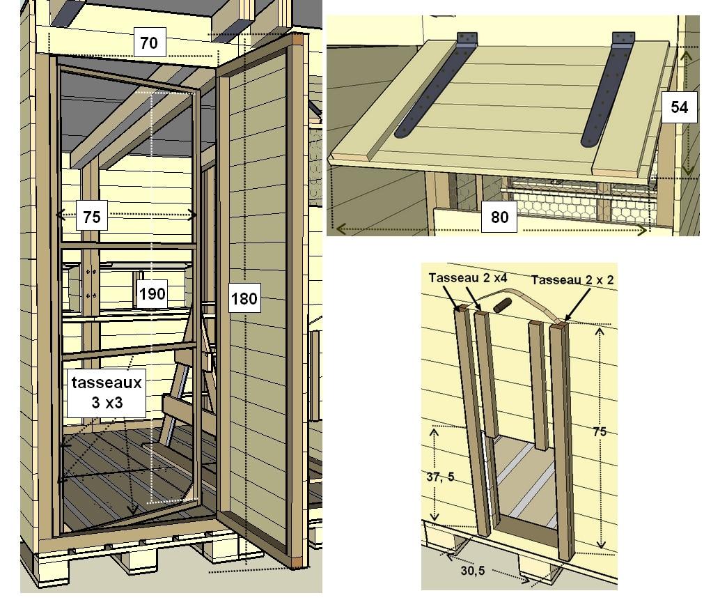 construction d 39 un poulailler en palettes modulable plan. Black Bedroom Furniture Sets. Home Design Ideas
