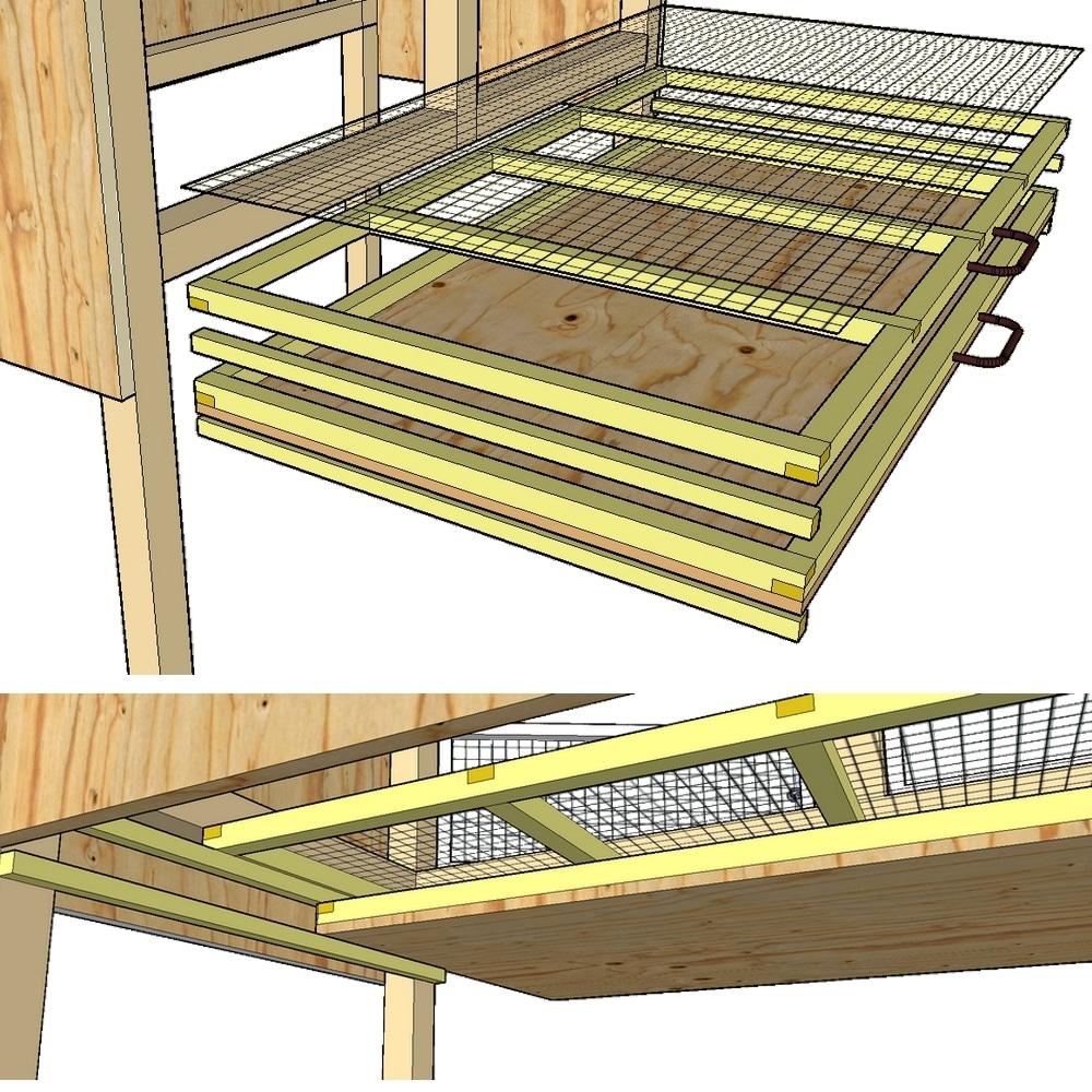 plan de montage des tiroirs de cage pour cailles