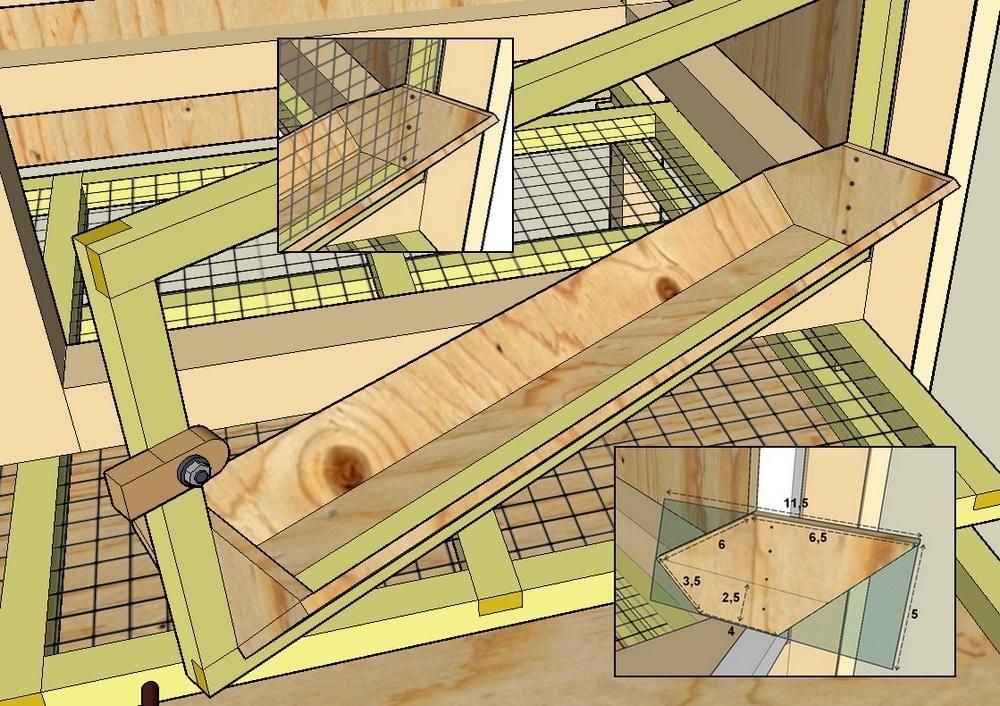 plan d'une mangeoire pour cage de caille