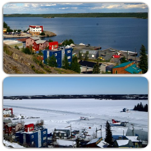 Top photo - taken in the summer of 2010 - shows the area of Yellowknife bay used for take-off and landing by float planes. Bottom photo - same scene taken March 2015 - shows the landing strip cleared on the frozen surface of the bay
