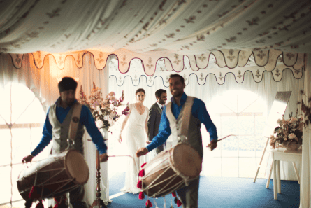 Dhol drummers at a Country house wedding