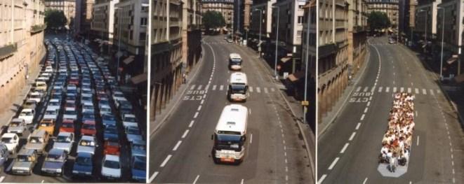 La capacité routière et ses alternatives. Source : Compagnie des Transports strasbourgeois. Expérience de déplacement de 200 personnes.