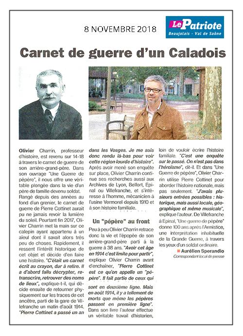 Le Patriote 08/11/18 – Carnet de guerre d'un Caladois