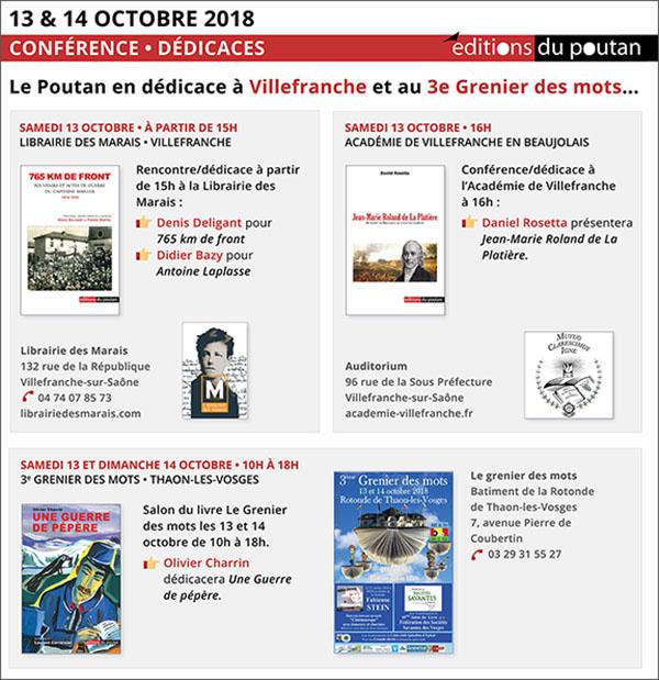 13, 14 octobre, Le Poutan en dédicace à Villefranche et au Grenier des mots