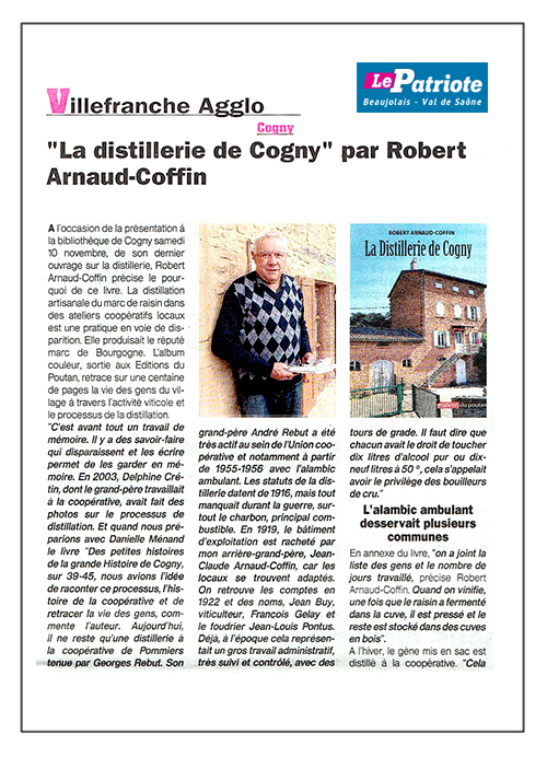 Cogny - Littérature régionale Robert Arnaud-Coffin écrit l'histoire de la distillerie