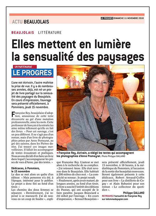 Sensuel Beaujolais: Françoise Rey & Anne Promeyrat. Le Progrès 11/11/18