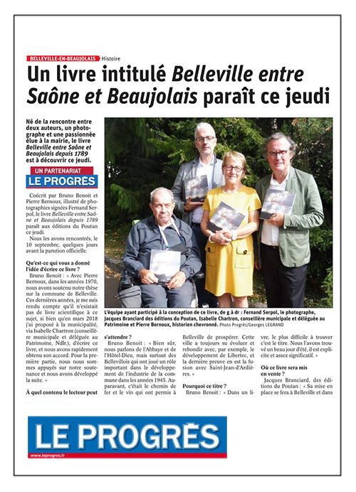 """Un livre intitulé """"Belleville entre Saône et Beaujolais""""... - Le Progrès 19/09/2019"""