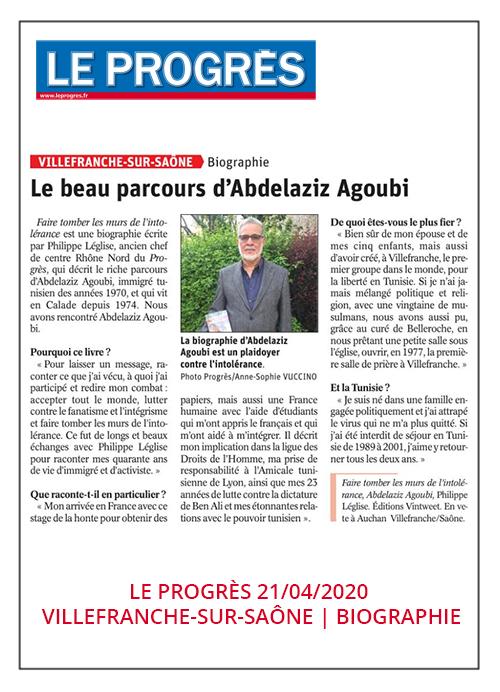 Le beau parcours d'Abdelaziz Agoubi - Le Progrès 21/04/2020
