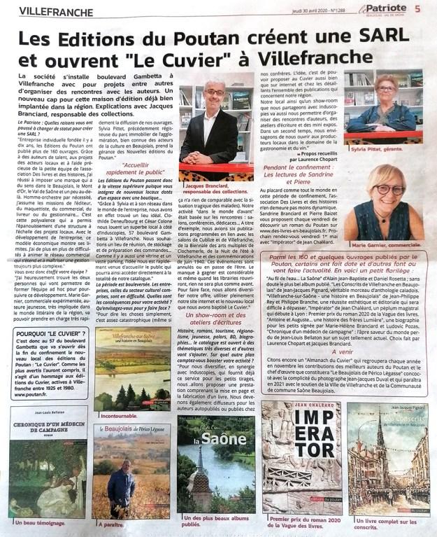 """Le Poutan crée une SARL et ouvre """"Le Cuvier"""" à Villefranche - Le Patriote 30/04/30"""