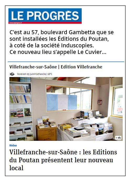 Les Éditions du Poutan présentent leur nouveau local - Le Progrès 05/06/2020