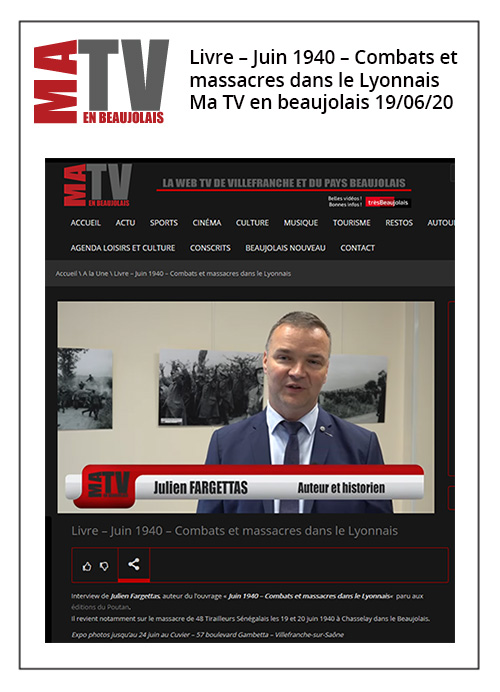 Livre - Juin 1940 - Combats et massacres dans le Lyonnais - Ma TV en Beaujolais - 19/06/20