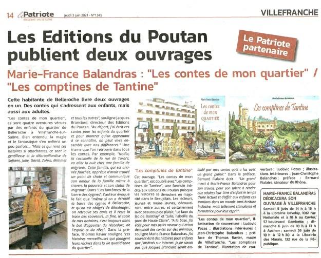 Marie-France Balandras : Les Contes de Mon quartier - Le Patriote 03/06/2021