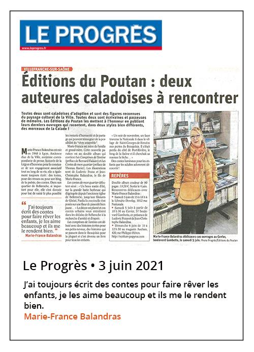 Éditions du Poutan - Rencontre avec Marie-France Balandras - Le Progrès 03/06/2021
