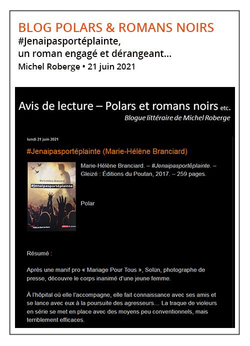 #Jenaipasportéplainte Marie-Hélène Branciard - Polars et romans noirs 21/06/21