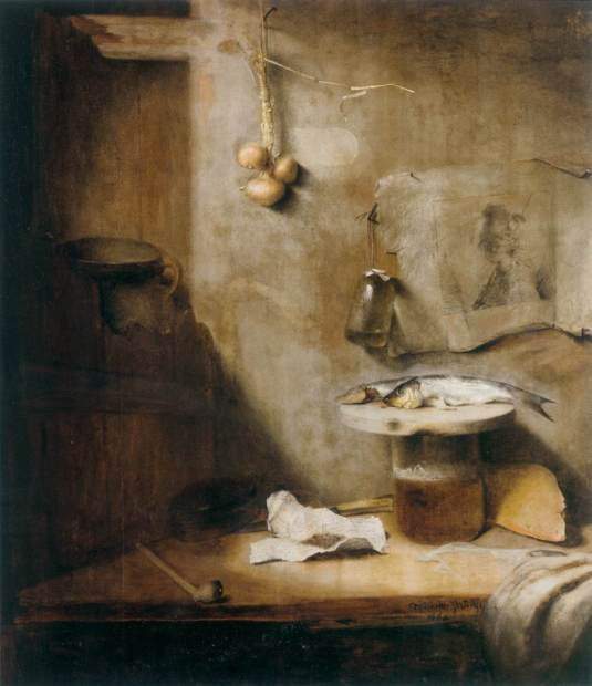 PAUDISS, Christoph Still-Life with Beer, Herring and Pipe 1660