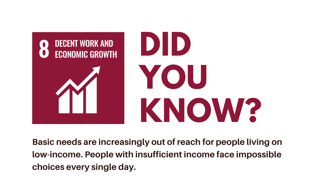 Did you know? Basic needs are increasingly out of reach for people living on low-income. People with insufficient income face impossible choices every single day.