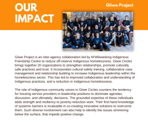 Giiwe Project is an inter-agency collaboration led by M'Wikwedong Indigenous Friendship Centre to reduce off-reserve Indigenous homelessness. Giiwe Circles brings together 20 organizations to strengthen relationships, promote culturally safe practices and trust. It incorporates cultural safety training, collaborative case management and relationship building to increase Indigenous leadership within the homelessness sector. This has led to improved collaboration and understanding of Indigenous practices, and a reduction in Indigenous homelessness. The role of Indigenous community voices in Giiwe Circles counters the tendency for housing service providers in leadership positions to dominate agendas, discussion, and ultimately, decisions. The grounded expertise of these individuals adds strength and resiliency to poverty-reduction work. Their first-hand knowledge of systemic barriers is invaluable in co-creating innovative solutions to overcome them. Such diverse involvement can also help to identify the issues simmering below the surface, that impede positive change.