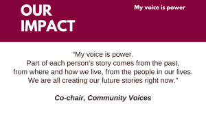 """My voice is power. Part of each person's story comes from the past, from where and how we live, from the people in our lives. We are all creating our future stories right now."" Co-chair, Community Voices"