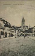 Hermannstadt Sibiu Nagyszeben Saggasse mit ev. Kirche 1915 (7)