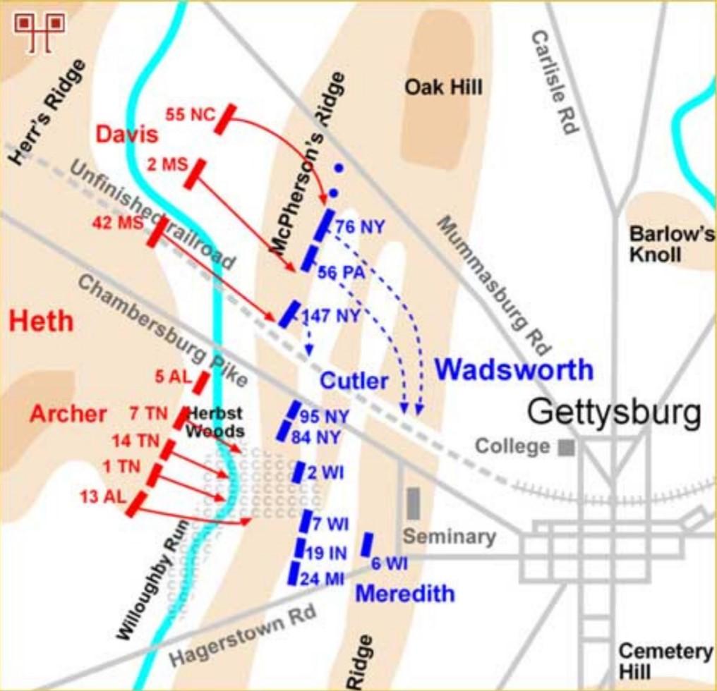 Napad na McPherson Ridge, oko 10:00 h