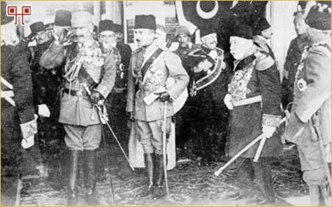 Car Wilhelm II i Enver-paša u audijenciji kod sultana Mehmeda V.