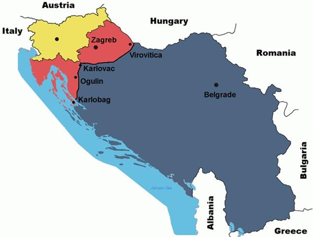 Prilog 7 – Teritorij Velike Srbije (plan stvorio Vojislav Šešelj), preuzeto iz: Radelić, Zdenko, Hrvatska u Jugoslaviji 1945.-1991. (od zajedništva do razlaza), Školska knjiga, Zagreb 2006.