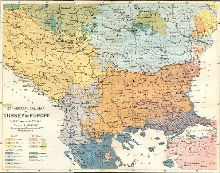 Etnička distribucija Albanaca na Balkanu 1880.