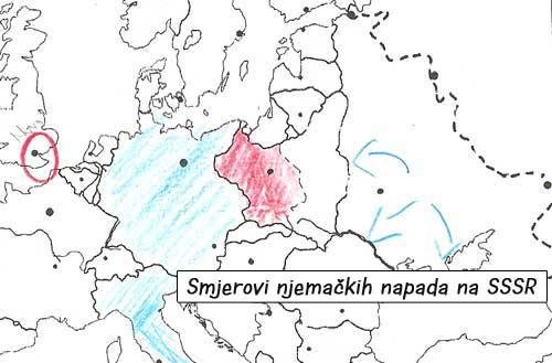 Plavim strelicama su označeni smjerovi njemačkih napada na SSSR