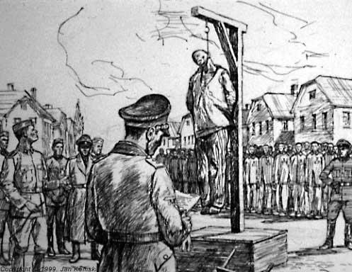Vješanje (naslikao Jan Komski, preživjeli logoraš broj 564 od 1940. godine)